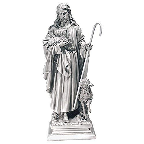 Design Toscano Jesus the Good Shepherd Religious Garden Statue, Large, 28 Inch, Polyresin, Antique Stone