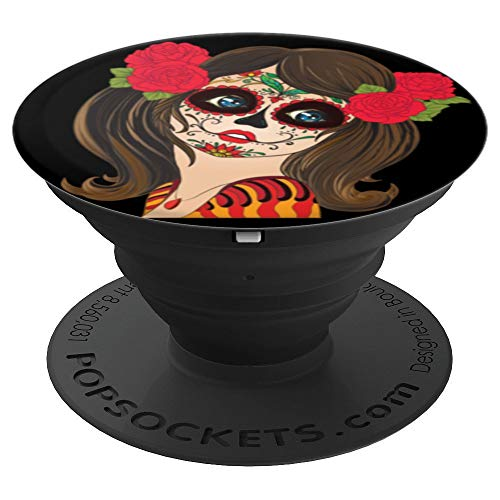 Creepy Sexy Scary Face Painted Chick Rose Hair Halloween - PopSockets Grip and Stand for Phones and Tablets for $<!--$14.99-->