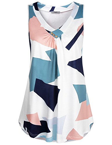 (Cestyle Tunics for Women, Ladies Patterned Tops V Neck Tanks Sleeveless Loose Blouse Geometrics Elegant Front Pleats Button Embellishment Cozy Vacation Printed Tunics White X-Large )