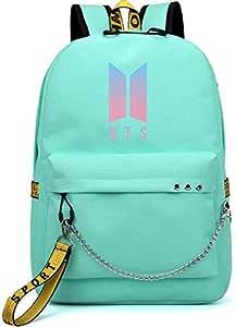 Korea BTS series backpack school student children canvas bookbag casual shopping shoulder bag travel rucksack with USB Charging Port,Fits UNDER 14 inch Laptop & Notebook for girls,boy,men,women,green