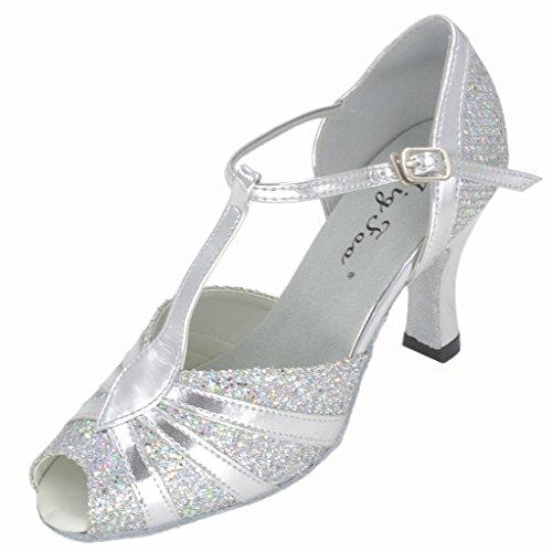 Jig Foo Sandalen offene Latin Salsa Tango Ballroom Dance Schuhe für Frauen mit 7,6cm Ferse