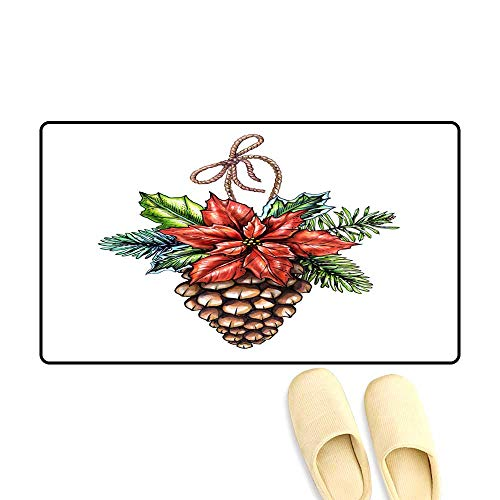 Door Mats for Inside Non Slip Backing Watercolor Christmas Ornament Decorate Pine Cone Illustration Winter Holiday Clip Art Isolate on White Background ()