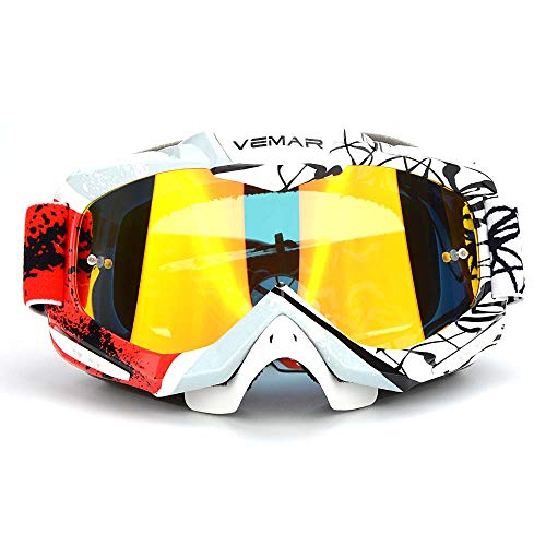 Motorcycle Goggles, ATV Dirt Bike Off Road Racing MX Riding Ski Snowboard Goggle Bendable Anti Fog Eyewear Padded Soft Thick Foam,Adjustable Non-slip Strap Cycling Motocross goggles(new style)