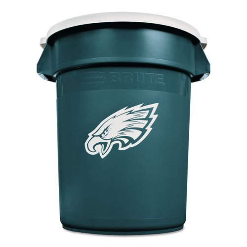 Hunter Green Receptacle Lid - Rubbermaid Commercial Team Brute Round Container w/Lid, Eagles, 32 Gal, Plastic, Hunter Green/White - Includes one waste receptacle with lid.