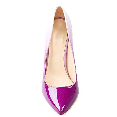 EKS - Sandalias con Cuña Mujer Weiß&Violett-12cm