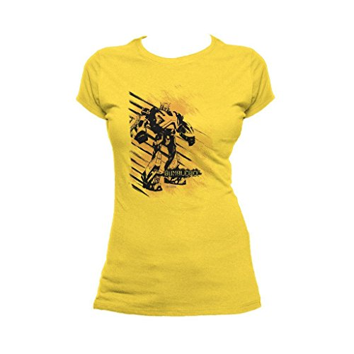 Transformers Fall of Cybertron Bee Dot Official Women's T-Shirt (Yellow) (Medium)