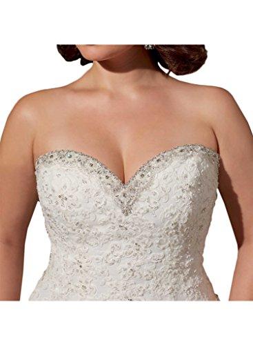 Charmant Damen Elfenbein Spitze Herzausschnitt Traegerlos Meerjungfrau Hochzeitskleider Brautkleider Brautmode Lang