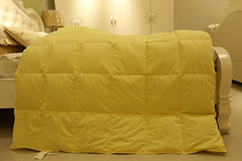 unite down Shell Fabrics Without Noise Air Condition Summer Comforter/Duvet/Blanket Light Weight Pure Goose Down Baffle Box Construction (California King 108x94inch, Yellow)