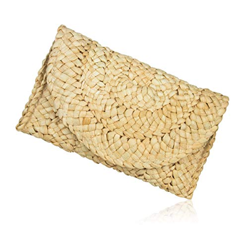 Straw Clutch Handbag Women Envelope Evening Bag Purse Wallet Woven Beach ()