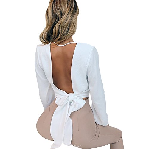 Weigou Women Bandage Tops Sexy Wrap Chest Deep V Long Sleeve Backless Tie Crop Top Short Blouses Shirts (White, L)