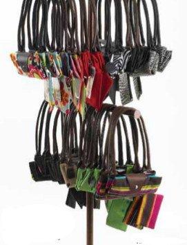 (Fold Up Tote Bag with Long Handle - Creme Fleur De Lis )