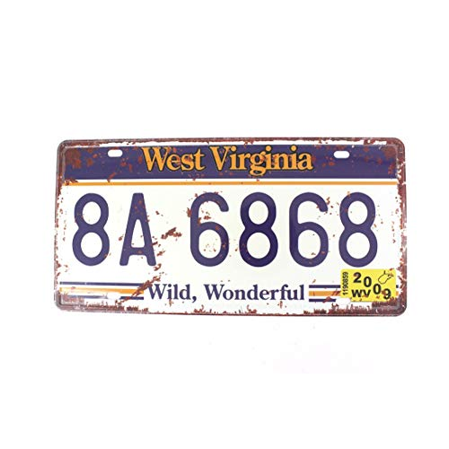 (ERLOOD WEST Virginia 8A 6868 Retro Vintage Auto License Plate Tin Sign Embossed Tag Size 6 X 12)
