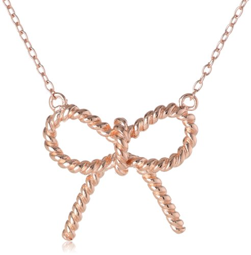 14k Rose Gold Plated Sterling Silver Twisted Ribbon Bow Necklace, 18