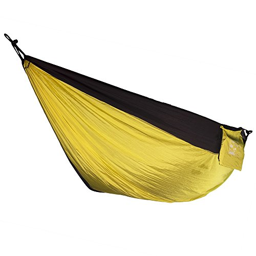 Ten After Twelve Heavy Duty Two Person Hammock, Double Wide Portable Nylon Camping Hammock for Couples, 400+ Pound Capacity, Yellow and Black