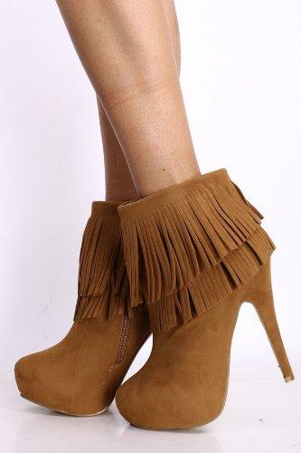 5 Buckle Platform Boot - Womens Faux Suede Fringe Hidden Platform Stiletto High Heel Ankle Boots in Black, Tan (8.5, Tan)
