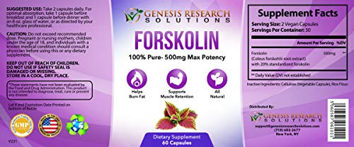 Pure Forskolin Dietary Supplement, Appetite Suppressant for Weight Loss & Muscle Retention. Plus Metabolism & Energy Booster - 100% Natural Supplement Extr by Genesis Research Solutions (Image #2)