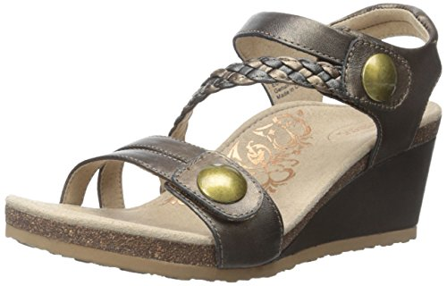 Aetrex Women's Naya Braid QTR STRP WDGE SNDL Wedge Sandal, Bronze, 40 EU/9.5 M US