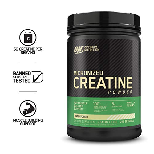 Optimum Nutrition Micronized Creatine Monohydrate Powder, Unflavored, Keto Friendly, 42.24 Ounce Packaging May Vary