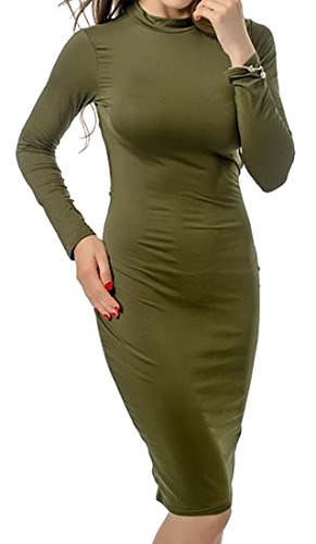 Cruiize Womens Solide Creux Sexy Manches Longues Ras Du Cou Clubwear Vert Armée Robe