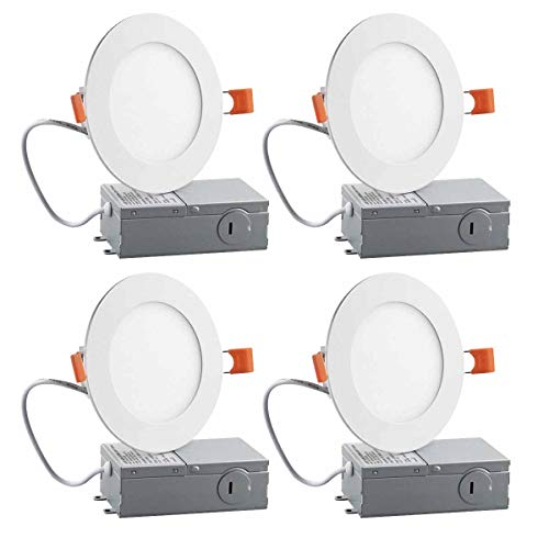 4 Inch Slim LED Downlight, Dimmable, 9W (65W Equivalent), 5000K Daylight White, 600Lm, ETL Listed, Retrofit LED Recessed Lighting Fixture, LED Ceiling Light, 4 Pack