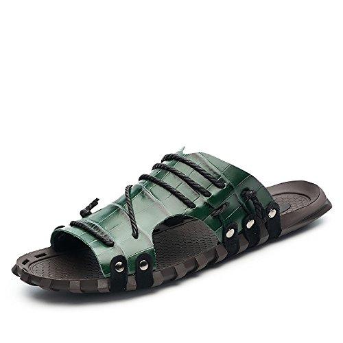 Xing Lin Flip Flop De La Playa Los Hombres Sandalias _ Verano Palabra Pantuflas Sandalias De Gran Tamaño Nuevo Sandalias De Hombres XGZ7551 green