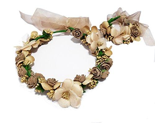 Brown Floral Band - CVERRE Girls Flower Headbands Wrist Brand Crown Wedding Bridal Hair Wreath Floral Headband (HB, BR)