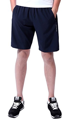 YSENTO Mens Sports Quick Dry Running Shorts Gym Workout Lightweight Shorts with Zip Pockets