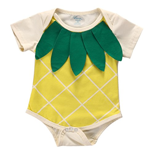 [Baby Boys Girls Pineapple Bodysuits Toddler Short Sleeve Rompers Outfits Yellow (6-12M, Yellow)] (Pineapple Costume Girl)