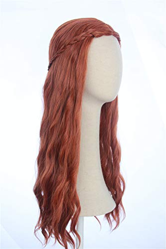 CosplayWigsCom: Sensa Stark Wig Inspired by Game of Thrones Light wavy Auburn Red Costume Cosplay Heat Resistant Synthetic Hair For Women]()