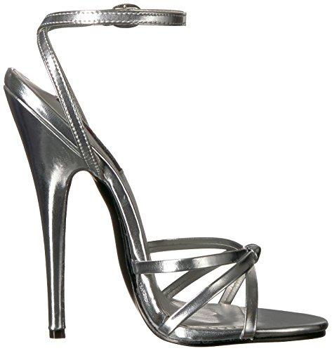 Blk 108 Metallic Silver Sandal Polyurethane Women's PU Devious Domina xAqIIa