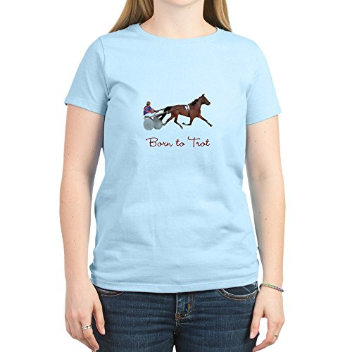 CafePress - Born to Trot - Womens Cotton T-Shirt, Crew Neck, Comfortable & Soft Classic Tee Light Blue ()