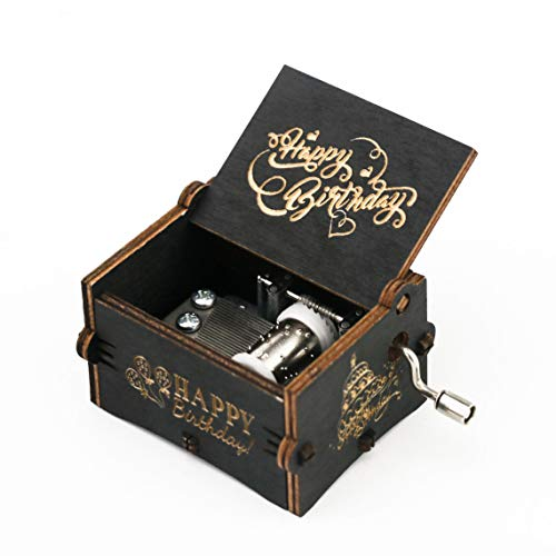 Happy Birthday Music Box Hand Crank Carved Wooden Musical Box,Musical Gift,Play Happy Birthday,Black