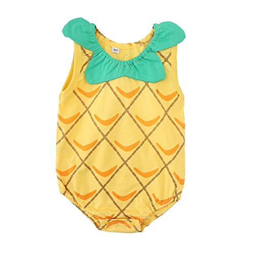 Fairy Baby Newborn Summer Onesie Cute Printed Little Romper Bodysuit,0-4M,Pineapple