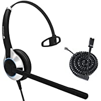 Deluxe Single Ear Noise Canceling Headset For Call Center / Office & Cable For Cisco IP Phones 7931G 7940 7941 7942 7945 7960 7961 7962 7965 7970 and M12, M22 Amplifiers
