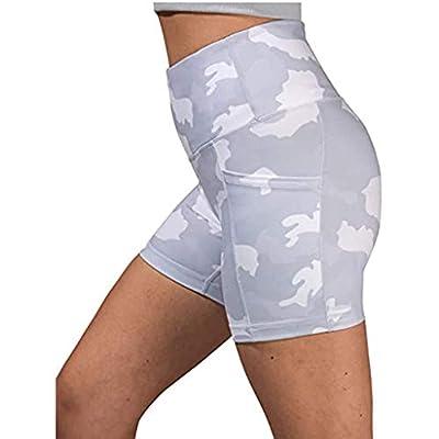 KANGMOON High Waist Out Pocket Yoga Short Tummy Control Workout Running Athletic Non See-Through Yoga Shorts: Clothing