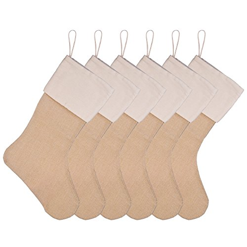 Sumind 6 Packs Burlap Christmas Stockings for Christmas Decorations or DIY (Flaxen)