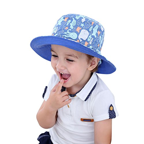Kid Toddler Baby Reversible Sun Hat Wide Brim Summer Cap Fisherman Cap 50+ SPF UV Protective by HUIXIANG
