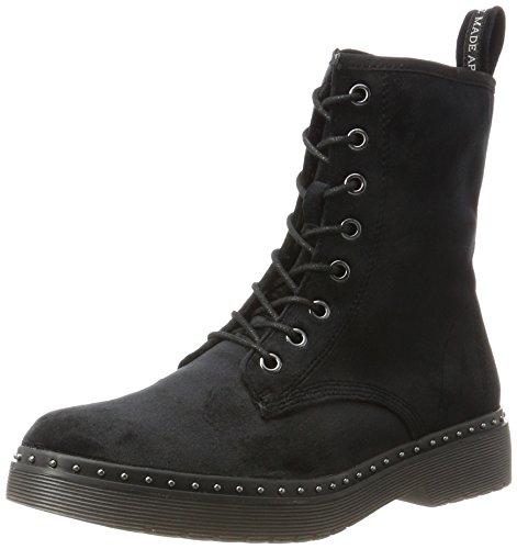 Mujer Negro Militar Botas Para 25718 Tamaris Velvet black qwzXOICn6
