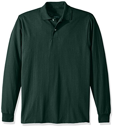 Jerzees Men's Spot Shield Long Sleeve Polo Sport Shirt, Forest Green, -