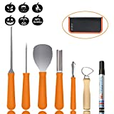 Pumpkin Carving Tools Kit, OHiHi Pro Level Jack-O-Lantern Sculpting Set,Heavy Duty Stainless Steel,with Reusable PU Case and 6 Carving Stencils,Best for Halloween Party Decoration (7 Pieces)