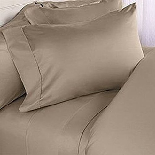 600 Thread Count-- 1PC Flat Sheet Queen Taupe Solid 100% Egyptian Cotton
