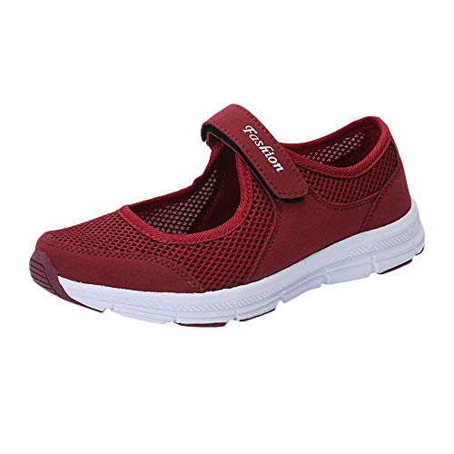SSYUNO Women's Fashion Sneakers Lightweight Breathable Flat Slip-on Walking Tennis Running Shoes Mary Jane Shoes Wine