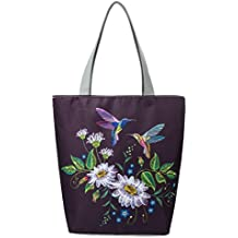 GBSELL Women Girl Frower Bird Printed Canvas Shopping Bag Handbags Canvas (B)