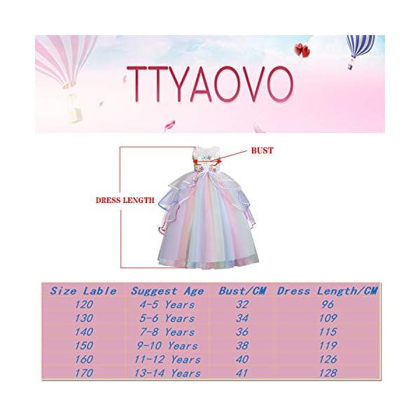 TTYAOVO Ragazze Unicorno Principessa Increspature Vestito 7