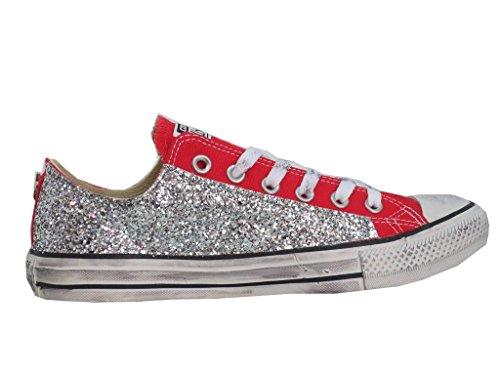 Converse all star ox basse glitter rosso red vintage ( prodotto artigianale )