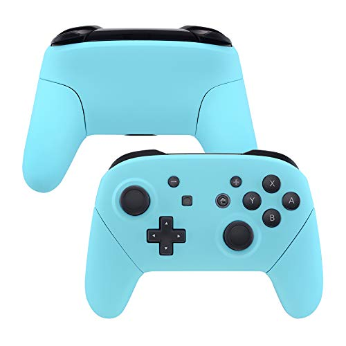 eXtremeRate Heaven Blue Faceplate Backplate Handles for Nintendo Switch Pro Controller, Soft Touch DIY Replacement Grip Housing Shell Cover for Nintendo Switch Pro - Controller NOT Included