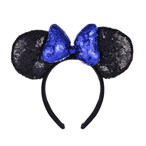 A Miaow 3D Mickey Mouse Sequin Ears Headband Minnie Glitter Hair Clasp Park Supply Girls Kids Adult Photo Accessory (Black and Blue)