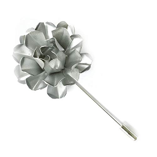 Light Silver Tone Painted Metal Flower Lapel Pin