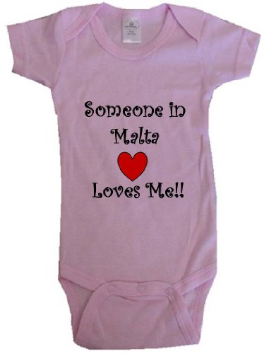 SOMEONE IN MALTA LOVES ME - MALTESE BABY - Country Series - Pink Baby One Piece Bodysuit - size Small (6-12M)