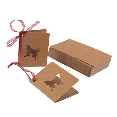 Butterfly Gift Tags - 50pcs Paper Blank Gift Tags Mini Greeting Cards Hollow Out (Butterfly)